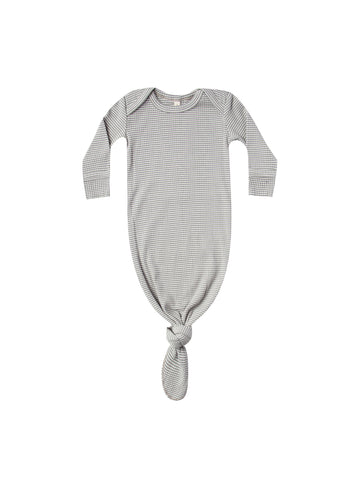 Quincy Mae Eucalyptus Stripe Ribbed Knotted Baby Gown
