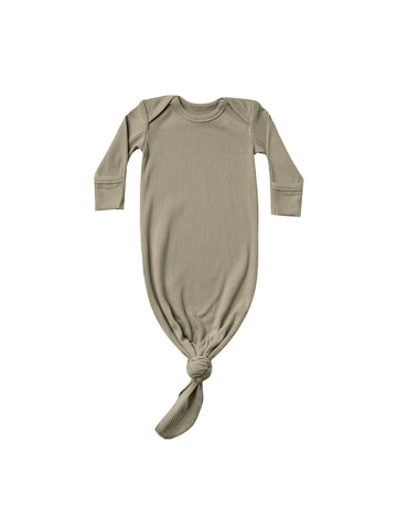 Quincy Mae Olive Ribbed Knotted Baby Gown