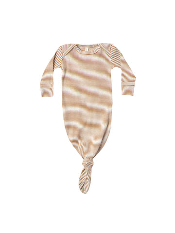 Quincy Mae Walnut Stripe Ribbed Knotted Baby Gown