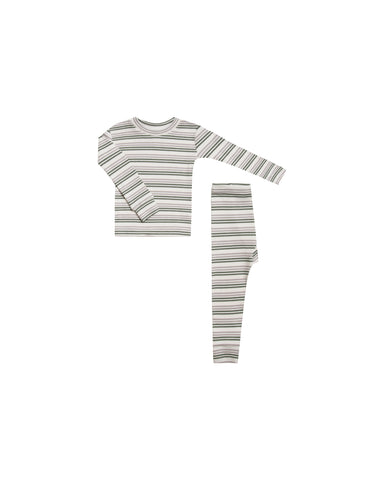 Rylee & Cru Forest & Warm Grey Striped Pajama Set