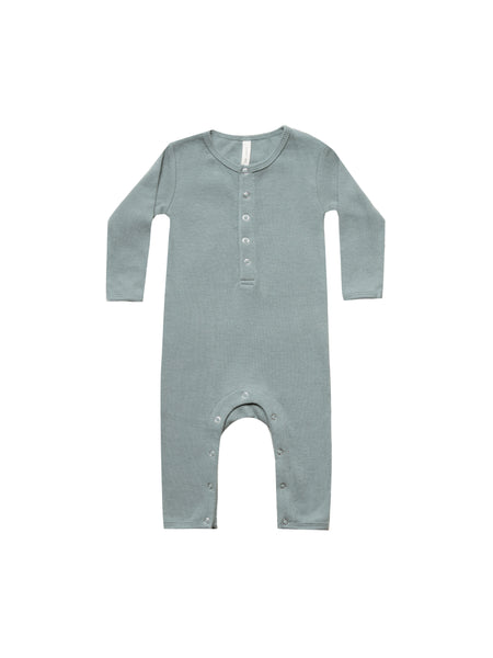 Quincy Mae Sea Ribbed Baby Jumpsuit