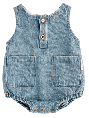 Tocoto Vintage Denim Bubble Pocket Romper