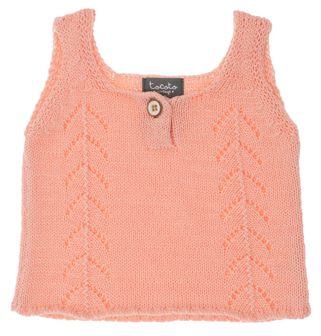Tocoto Vintage Pink Knit Sleeveless Top & Bloomer