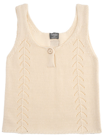 Tocoto Vintage Off White Knit Sleeveless Top & Bloomer