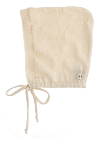 Tocoto Vintage Off White Baby Knit Bonnet