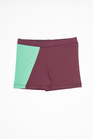 Motoreta Burgundy And Light Green Swim Trunks