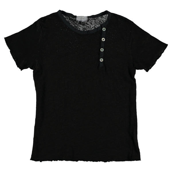 Violeta Black Rib Short Sleeve Top
