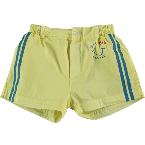 Bonmot Sunshine Yellow Button Side Stripes Short