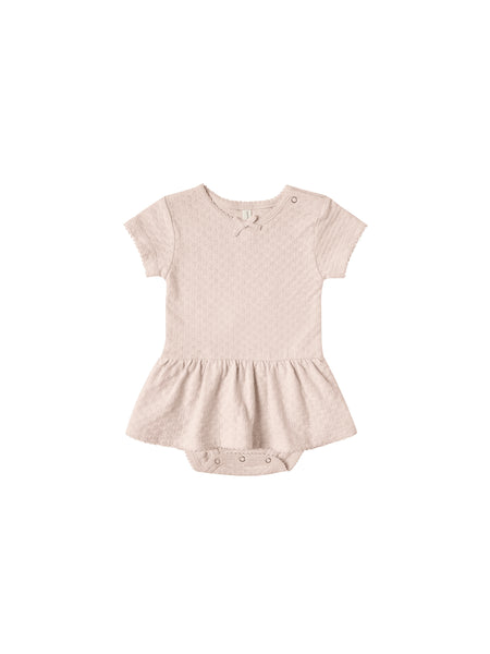 Quincy Mae Petal Pointelle Skirted Onesie