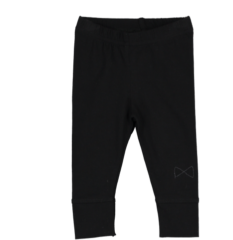 Mini Sibling Black Slim Legging with Logo