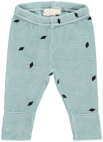 Mini Sibling Green Tea Terry Diamonds Slim Pants