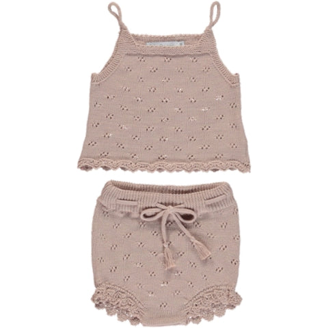 Bebe Organic Dusty Rose Summer Knit Top & Bloomer