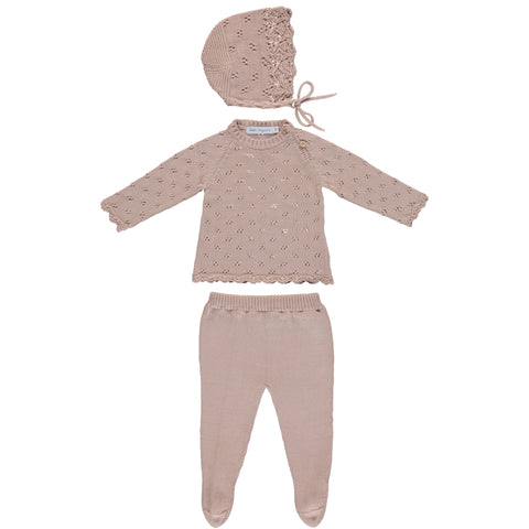 Bebe Organic Dusty Pink Summer Knit Set