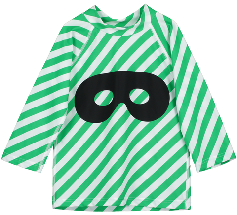 Beau Loves Green Diagonal Stripes Hero Mask Swim Top
