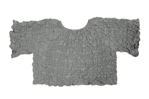 Tambere Grey Crinkle Short Sleeve Top