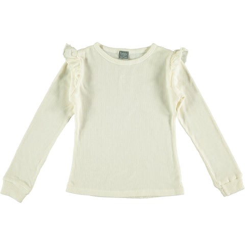 Tocoto Vintage Off White Long Sleeve Ruffle Top