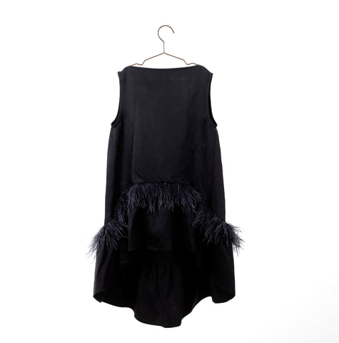 You And Me Black Dress With Feathers