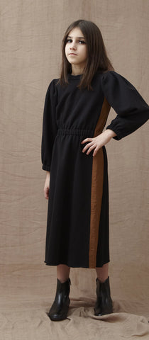 You and Me Black Fleece Dress with Contrast