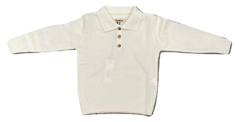 Nupkeet Ivory Knit Polo Sweater