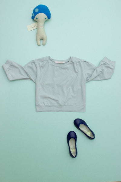 Flora and Henri Puff Sleeve Jersey Blouse Dove