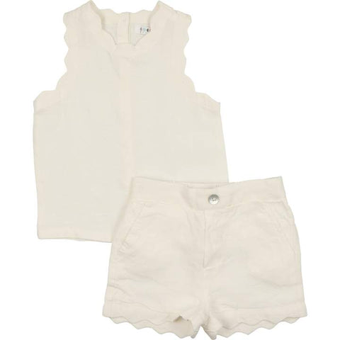 Coco Blanc Baby Girl Cream Linen Set