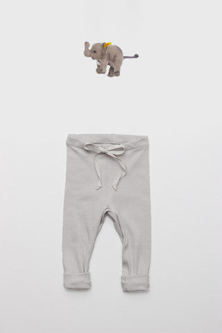 Flora and Henri Rib Baby Legging Pale Grey
