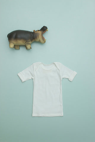 Flora and Henri Rib Lap Shoulder Tee Short Sleeve Cloud