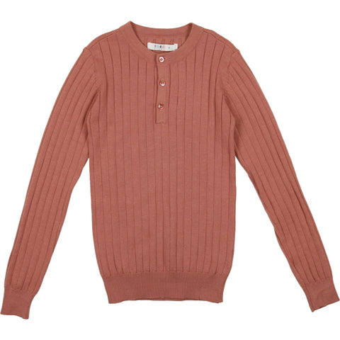 Coco Blanc Dusty Sand Crew Ribbed Sweater