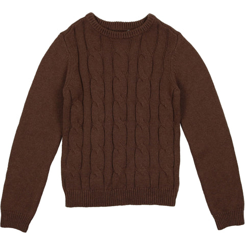 Coco Blanc Mocha Heather Cabled Sweater