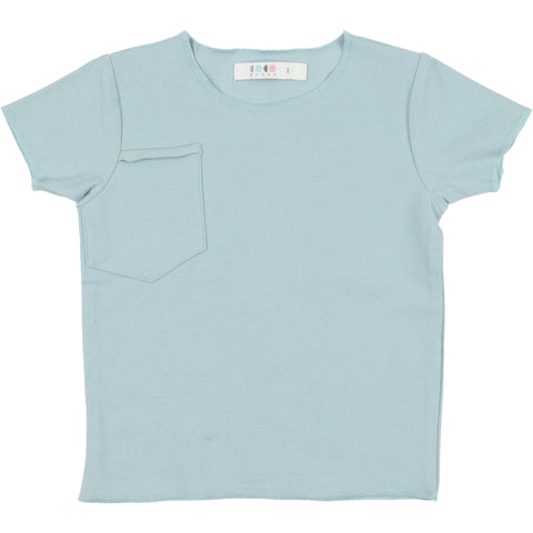 Coco Blanc Pale Blue French Terry V- neck Tee