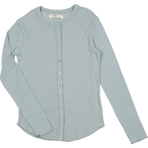 Coco Blanc Pale Blue Ribbed Long Sleeve Tee