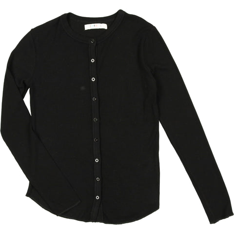 Coco Blanc Black Ribbed Long Sleeve Tee