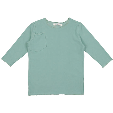 Coco Blanc Sage Green French Terry 3/4 Sleeve Tee