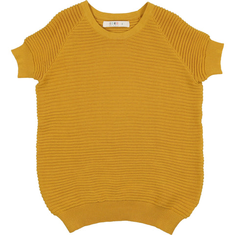 Coco Blanc Spicy Mustard Horizontal Ribbed Sweater