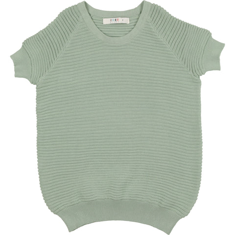 Coco Blanc Sage Green Horizontal Ribbed Sweater