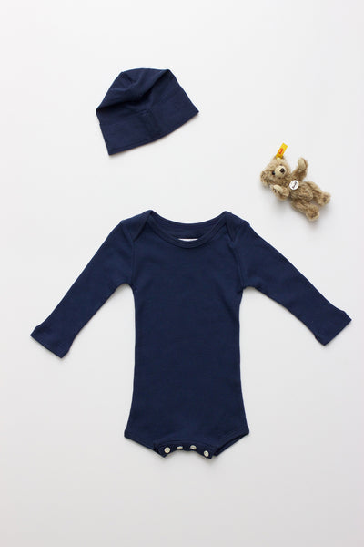 Flora and Henri Long Sleeve Onesie With Snaps Navy