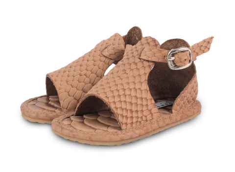 Donsje Amsterdam Brown Leather Kaki Python Sandal