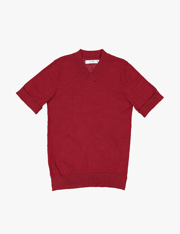 Coco Blanc Red Dressy V-Neck Sweater