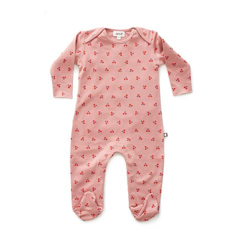 Oeuf Pink Cherries Footie Jumper
