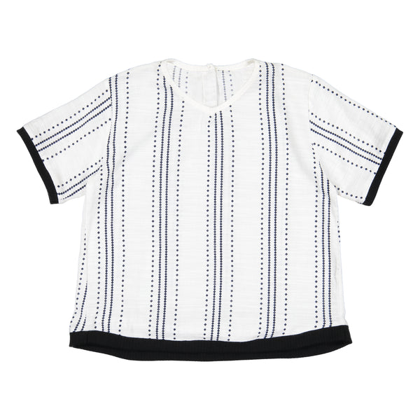 Belati White Boxy Shirt With All Over Print