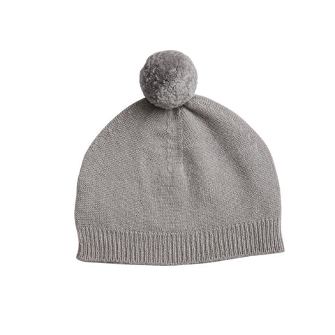 Belle Enfant Knit Charcoal Grey Pompom Hat