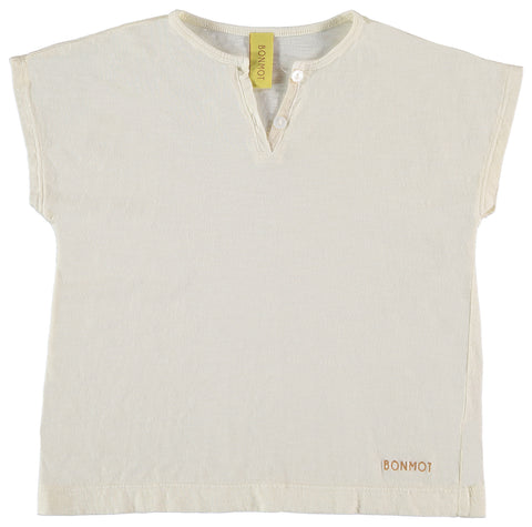 Bonmot White Armony Short Sleeve Henley Shirt