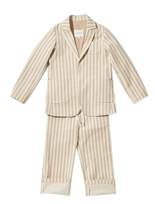 Jelly Mallow Beige Striped Cotton Suit
