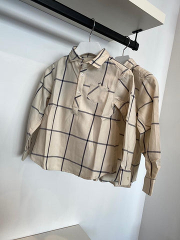 Nanos Ecru Big Check Shirt