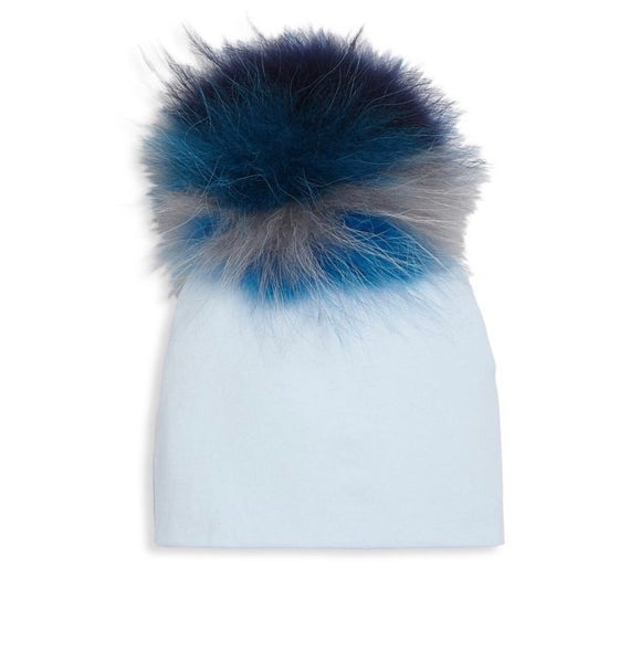 Bari Lynn White Cotton Baby Hat with Large Multi Color Blue Fur Pom-pom