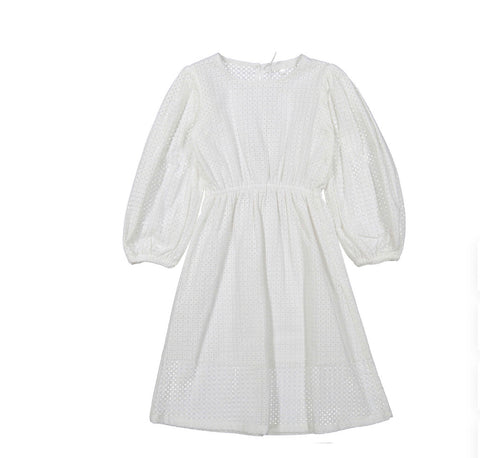You And Me White Chiffly Eyelit Puff Sleeve Dress