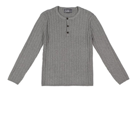 Belati Grey Ribbed Henley Sweater