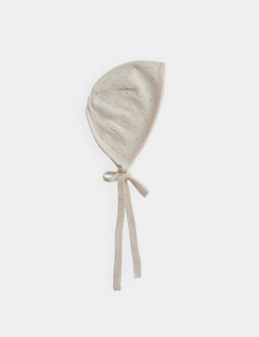 Belle Enfant Parchment Cotton Pointelle Bonnet