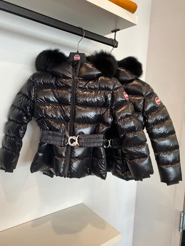 Colmar Shiny Black Belted Fur Hooded Winter Jacket