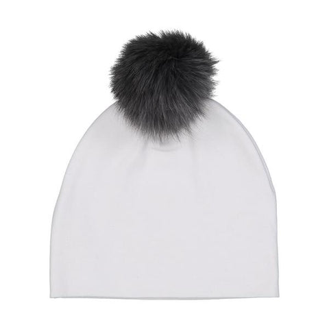 Bari Lynn White Cotton Baby Hat with Dark Grey Fur Pom-pom